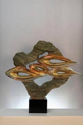艺美特酒店雕塑不锈钢树脂铁艺锻铜仿琉璃透明雕塑-透明摆件直前