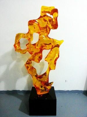艺美特酒店雕塑不锈钢树脂铁艺锻铜仿琉璃透明雕塑-