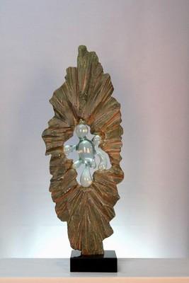 艺美特酒店雕塑不锈钢树脂铁艺锻铜仿琉璃透明雕塑-透明摆件初生